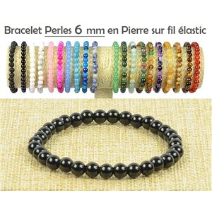 Bracelet Beads 6mm Black Agate stone on elastic thread 77483