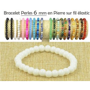6mm White Agate Gemstone Beads Bracelet on Elastic Thread 77484