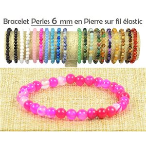 Beads Bracelet 6mm Fushia Agate stone on elastic thread 77487