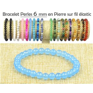 Blue Aventurine Stone 6mm Beads Bracelet on elastic thread 77488