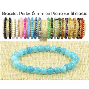Bracelet Beads 6mm Calcedony stone on elastic thread 77489
