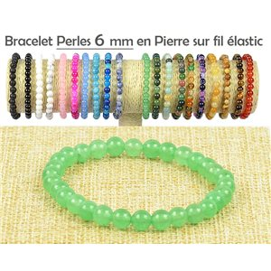 6mm Green Aventurine Stone Beads Bracelet on elastic thread 77492