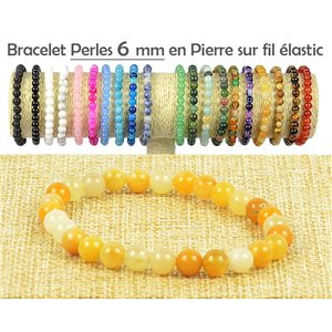 Bracelet Beads 6mm Yellow Stone Jade on elastic thread 77498
