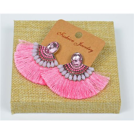 Handmade - 1p Earrings with Nails set with Beads and Strass New Pompom Collection 77642