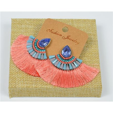 Handmade - 1p Earrings with Nails set with Beads and Strass New Pompom Collection 77647
