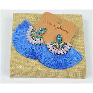 Handmade - 1p Earrings with Nails set with Beads and Strass New Collection Pompon 77651