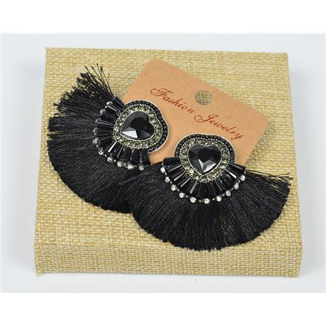 Handmade - 1p Earrings with Nails set with Beads and Strass New Collection Pompon 77657