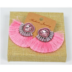 Handmade - 1p Earrings with Nails set with Beads and Strass New Collection Pompon 77658