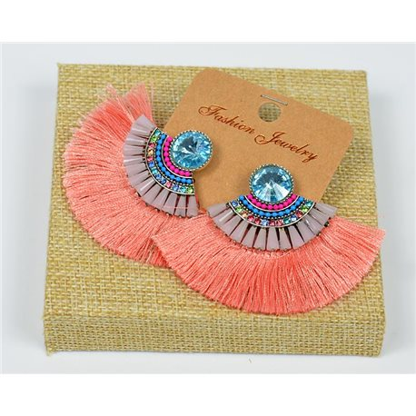 Handmade - 1p Earrings with Nails set with Beads and Strass New Collection Pompon 77663