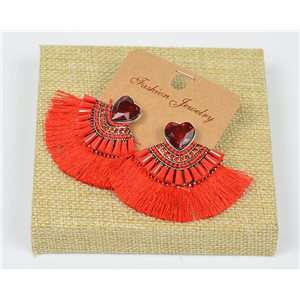 Handmade - 1p Earrings with Nails set with Beads and Strass New Collection Pompom 77670
