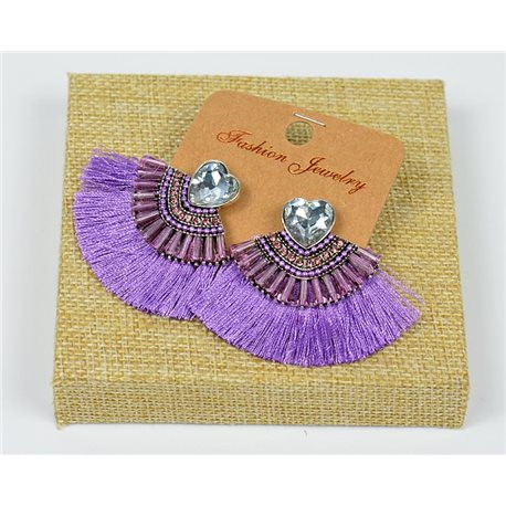 Handmade - 1p Earrings with Nails set with Beads and Rhinestones New Collection Pompon 77672