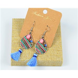 1p Earrings Crochet Tassel and Rhinestone New Ethnic Collection 77607