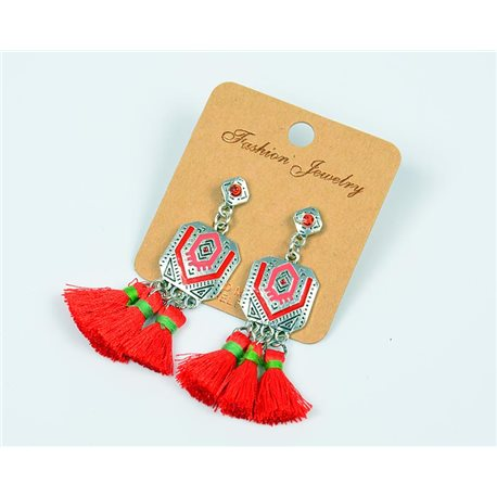 1p Earrings Stud Earrings Pompom and Rhinestone New Ethnic Collection 77610