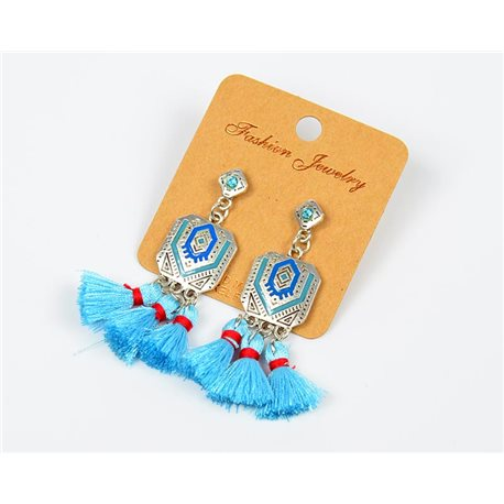 1pearn Earrings with Tassel and Rhinestone New Ethnic Collection 77611