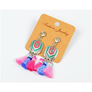1pearn Earrings with Tassel and Rhinestone New Ethnic Collection 77612