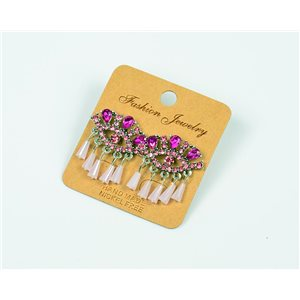 1p Earrings Nail Beads and Rhinestones Ethnic New Collection 77592