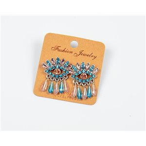 1p Boucles Oreilles à Clou Perles et Strass New Collection Ethnique 77595