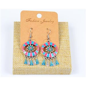 1p Boucles Oreilles à Crochet Perles et Strass New Collection Ethnique 77598