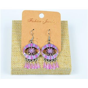 1p Boucles Oreilles à Crochet Perles et Strass New Collection Ethnique 77600