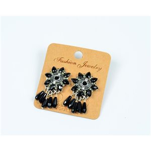 1p Earrings with Nails Beads and Rhinestone New Ethnic Collection 77601