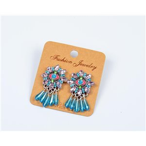 1p Earrings Nail Pearl and Rhinestone New Ethnic Collection 77602