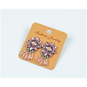 1p Boucles Oreilles à Clou Perles et Strass New Collection Ethnique 77603
