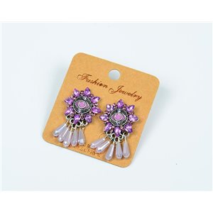 1p Earrings Nail Beads and Rhinestone New Ethnic Collection 77604