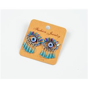 1p Earrings Nail Beads and Rhinestones Ethnic New Collection 77587