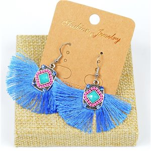 1p Earrings Crochet Tassel and Beads New Ethnic Collection 77615