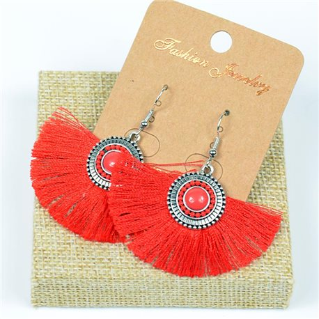1p Earrings Crochet Tassel and Pearls New Ethnic Collection 77618