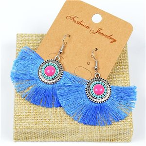 1p Earrings Crochet Tassel and Beads New Ethnic Collection 77619