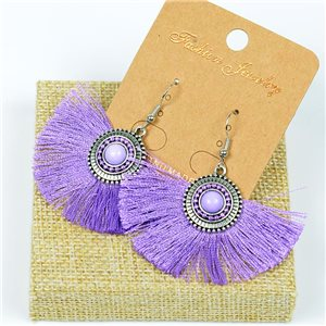 1p Earrings Crochet Tassel and Beads New Ethnic Collection 77620
