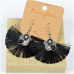 1p Earrings Crochet Tassel and Beads New Ethnic Collection 77629