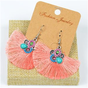 1p Earrings Crochet Tassel and Beads New Ethnic Collection 77631