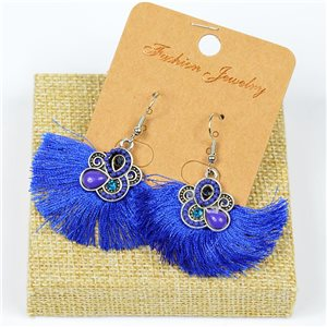 1p Earrings Crochet Tassel and Beads New Ethnic Collection 77632