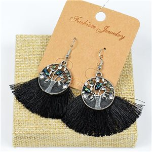 1p Earrings Crochet Tassel and Beads New Ethnic Collection 77633