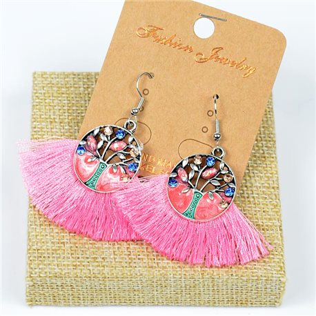 1p Earrings Crochet Tassel and Pearls Ethnic New Collection 77635
