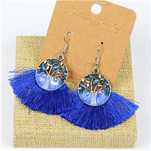 1p Earrings Crochet Tassel and Beads New Ethnic Collection 77636