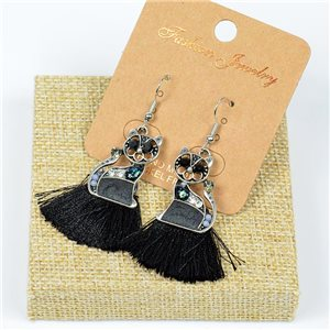 1p Earrings Crochet Tassel and Beads New Ethnic Collection 77637