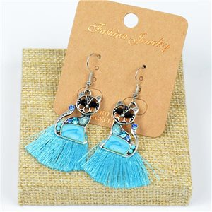 1p Earrings Crochet Tassel and Beads New Ethnic Collection 77639