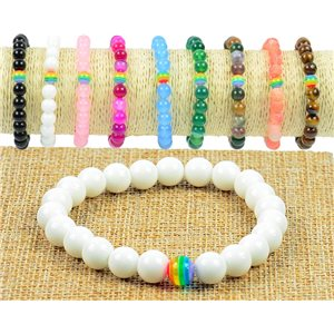 8mm Agate Blache Stone Beads Bracelet on Elastic Wire Rainbow Collection 77503