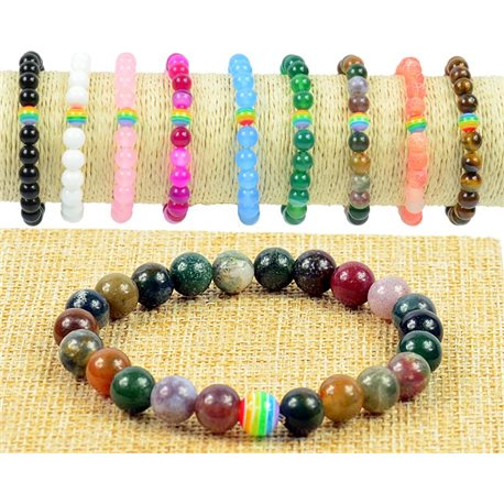 Pearl 8mm Stone Jasper Heliotrope Bracelet on Elastic Wire Rainbow Collection 77508
