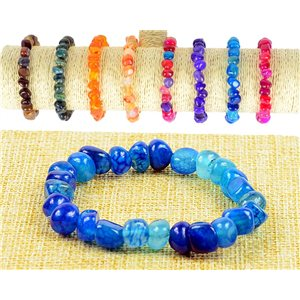 New Agate Blue Asymmetrical Beads Bracelet on elastic thread 77512