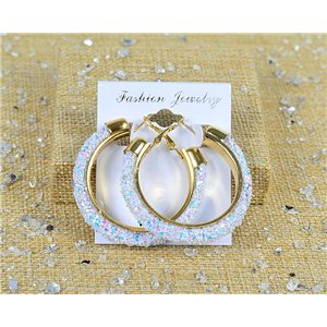 1p Earrings with sequins hoops 45mm clamshell New Collection 77678