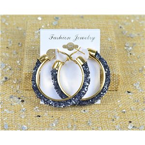 1p Earrings with Glitter Hoops 45mm clasp closure New Collection 77679