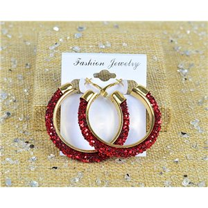 1p Earrings with Glitter Hoops 45mm clamshell New Collection 77680