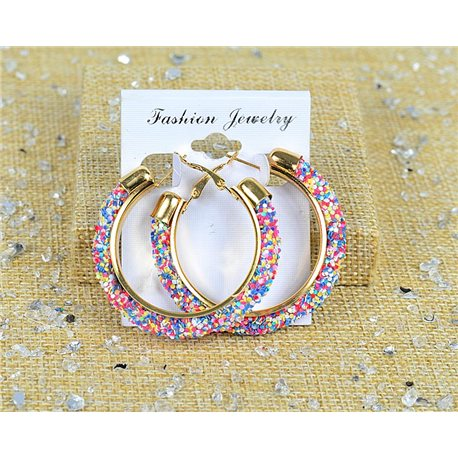 1p Earrings Glitter Hoops 45mm Clamshell New Collection 77683