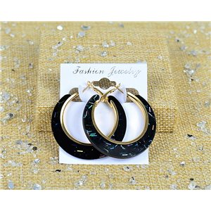 1p Boucles Oreilles Paillettés Créoles 45mm fermeture à clapet New Collection 77685