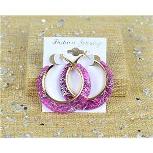 1p Boucles Oreilles Paillettés Créoles 45mm fermeture à clapet New Collection 77688