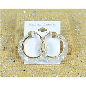 1p Earrings Spangled Hoops 45mm clamshell closure New Collection 77692